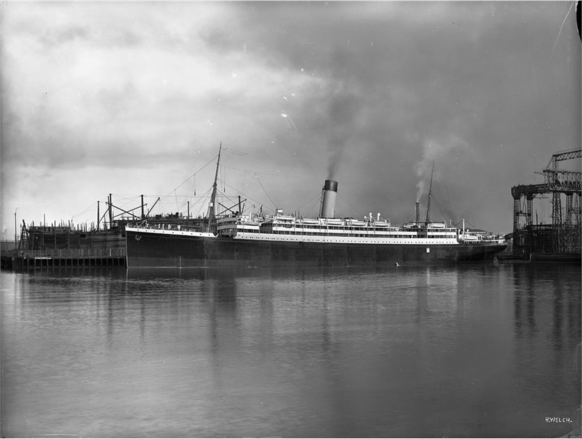 Image: Megantic - profile of completed ship alongside outfitting jetty, Harland and Wolff Collection © National Museums Northern Ireland