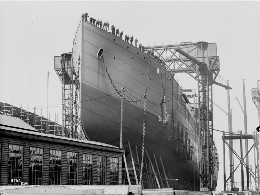 Image: Cedric - bow view prior to launch with workers on board, Harland and Wolff Collection © National Museums Northern Ireland