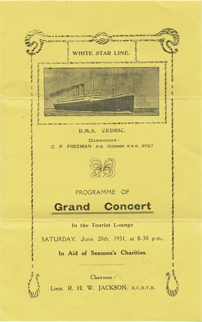 Image: Cedric - concert programme, 1931, Paul Louden-Brown, White Star Line Collection © National Museums Northern Ireland