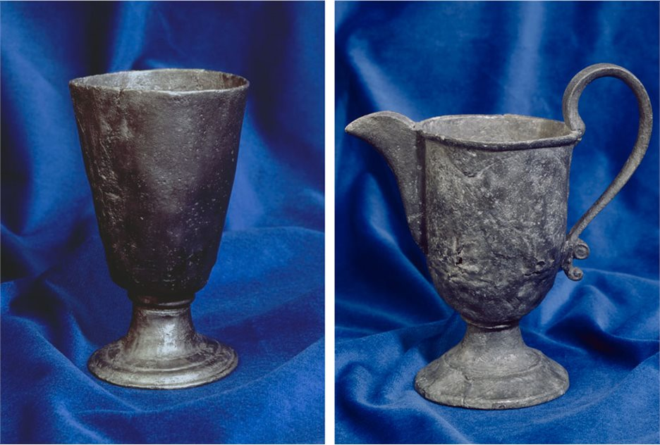 Image: Pewter goblet BTV.184 - On display, Tower Museum and Pewter jug with curved spout and swan-neck handle BTV.256