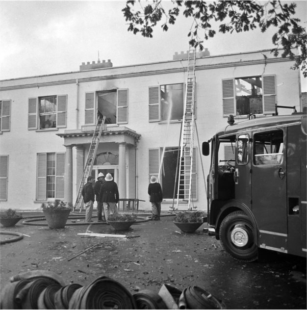 Image: Malone House (front view) after destruction by terrorists on 11 Novenber 1976. BELUM.Y7630 © National Museums Northern Ireland