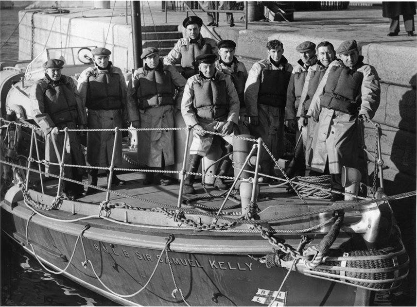 Image: Hugh Nelson and crew aboard the Samuel Kelly (Image courtesy of Donaghadee Heritage Preservation Company)