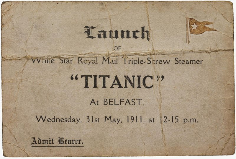 Image: Workman's launch ticket for Titanic, 31 May 1911, issued to David Moneypenny, a Harland and Wolff shipyard painter who worked on the First Class accommodation in Titanic. HOYFM.2015.813 © National Museums NI