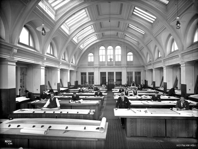Image: The Drawing Office at Harland & Wolff © Harland & Wolff Collection, National Museums NI