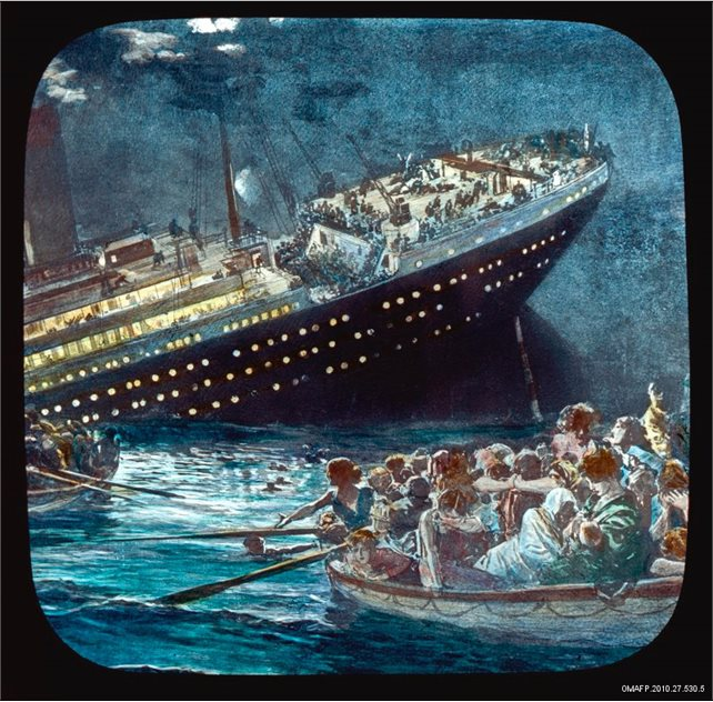 Image: Lantern slide depicting the sinking of Titanic OMAFP.2010.27.530.5 © Paul Louden-Brown White Star Line Collection