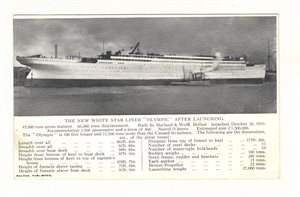 "The New White Star Liner ""Olympic"" after launching"