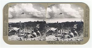 Amid bursting crumps, with trench mortar ready, [Sanforths] watch through peripscope for the Hun