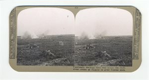 Cautiously working their way across the shell-swept plain of Picardy in great Somme push