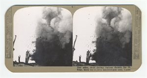 Our mine, fired during furious thrusts for St Elay blots out a jerry machine-gun nest, Ypres