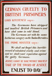 'German cruelty to British prisoners. Take up the sword of justice. Enlist today'