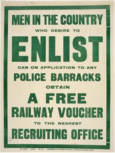 'Men in the country who desire to enlist can on application to any police barracks obtain a free railway voucher'