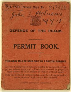 BOOK; Permit book (pass), [Royal Irish Constabulary]