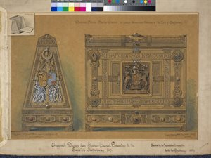 Oxdised Silver Shrine Casket to contain Illuminated Address to the Earl of Shaftesbury