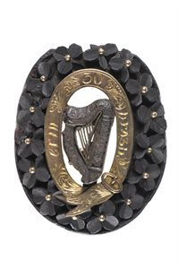 Oval jet brooch