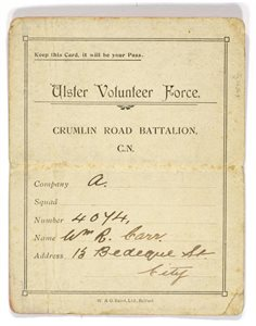 Ulster Volunteer Force Membership Card