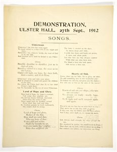 Song Sheet for Ulster Hall Demonstration, 1912