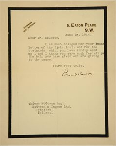Letter from Sir Edward Carson