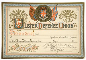Ulster Defence Union Membership Card
