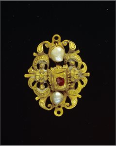 Composite Chain, Gold with Pearls and Rubies