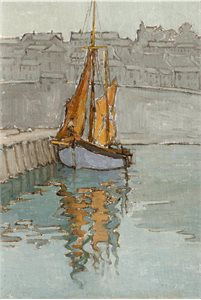 painting, oil Painting Untitled, Fishing Boat In Harbour, by Georgina Moutray Kyle