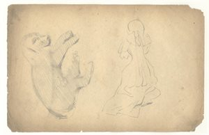 Study of a Puppy; Study of a Woman: Verso, Study of a Man in 18th Century Costume