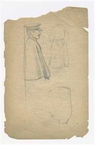 Three Studies of Policeman with a Cape: Verso, Study of Policeman