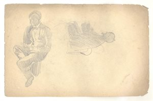 Two Seated Male Figure Studies: Verso, Reclining Male Figure Study