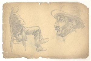 Figure Sketch of Man Sitting on a Chair; Male Head Study: Verso, Two Male Head Studies