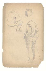 Two Male Figure Studies; Sketch of Boat