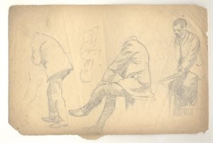 Three Male Figure Studies; Two Associated Sketches