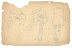 Three Male Figure Studies: Verso, Figure Study of Man Seated on a Stool; Four Associated Sketches