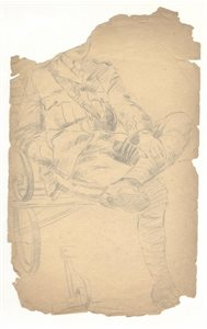 Figure Study of Soldier Sitting on a Park Bench