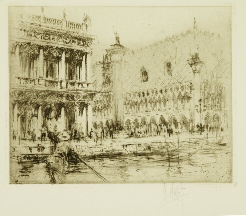 William Walcot (1874-1943) Piazza San Marco, Venice (1920) Etching with drypoint BELUM.Pt264