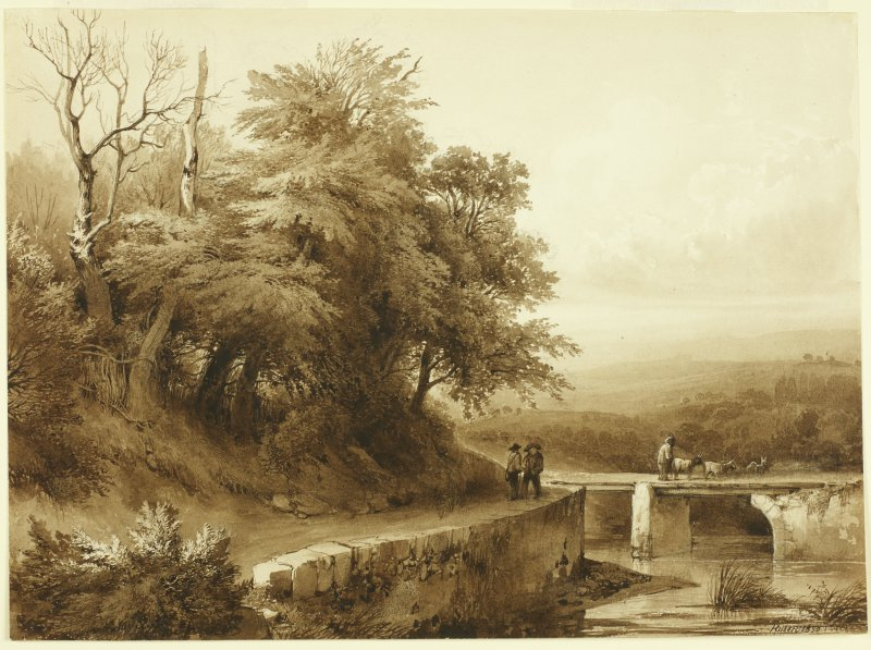 Jean-Baptiste Louis Hubert (1801-1865) Swiss View, Figures by a River (1830) Pencil & sepia on paper BELUM.U1063