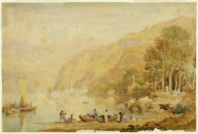 Anthony Vandyke Copley Fielding (1787-1855) A Lakeside (date unknown) Watercolour & bodycolour on paper BELUM.U777