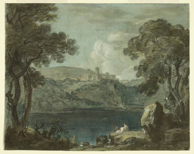 Paul Sandby (1731-1809) Lake and Town of Nemi (after Wilson) (late 1700s) Watercolour, bodycolour & white on paper BELUM.U848