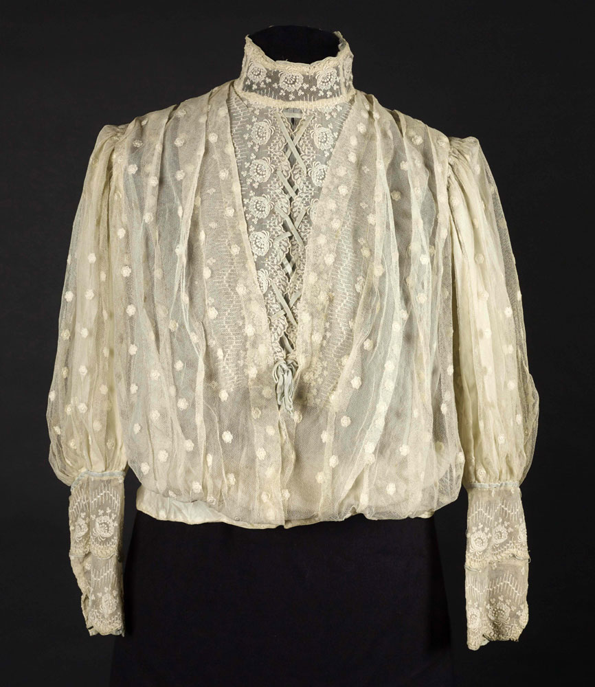 Embroidered cotton net blouse, 1900-1910