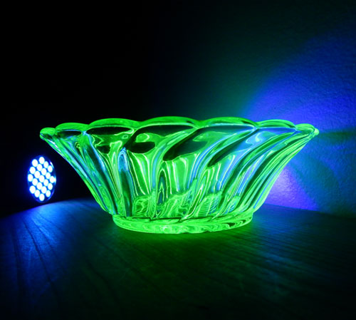 Uranium glass glows bright green in ultraviolet light but is barely radioactive.
