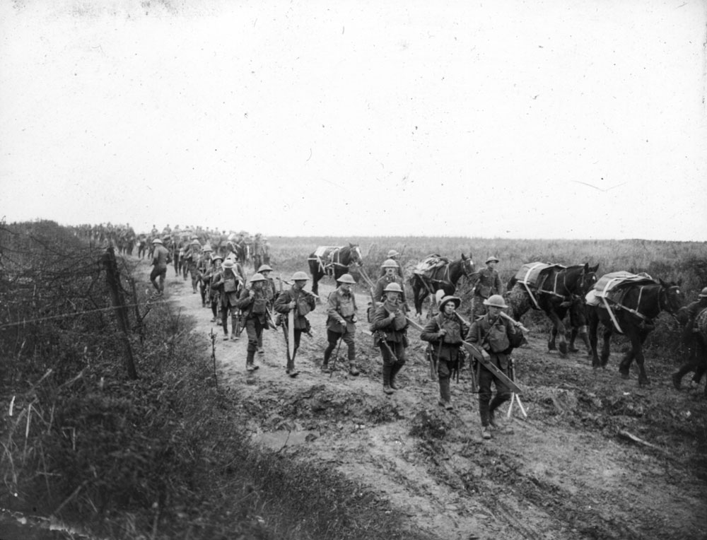 British soldiers marching with pack horses. BELUM.Y12870 © National Museums Northern Ireland