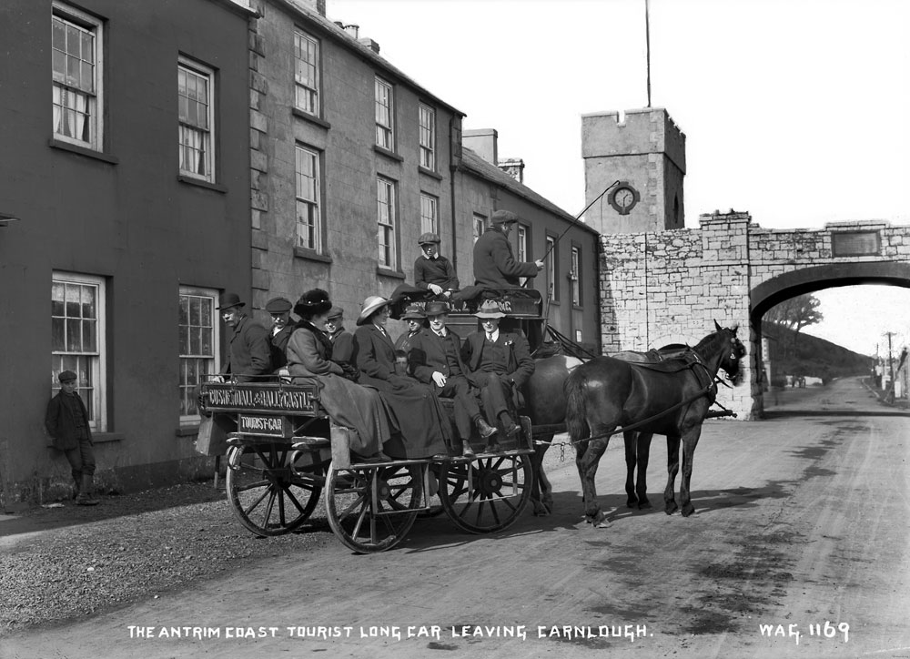 Two horse-drawn tourist long car, Carnlough. County Antrim. HOYFM.WAG.1169 © National Museums Northern Ireland