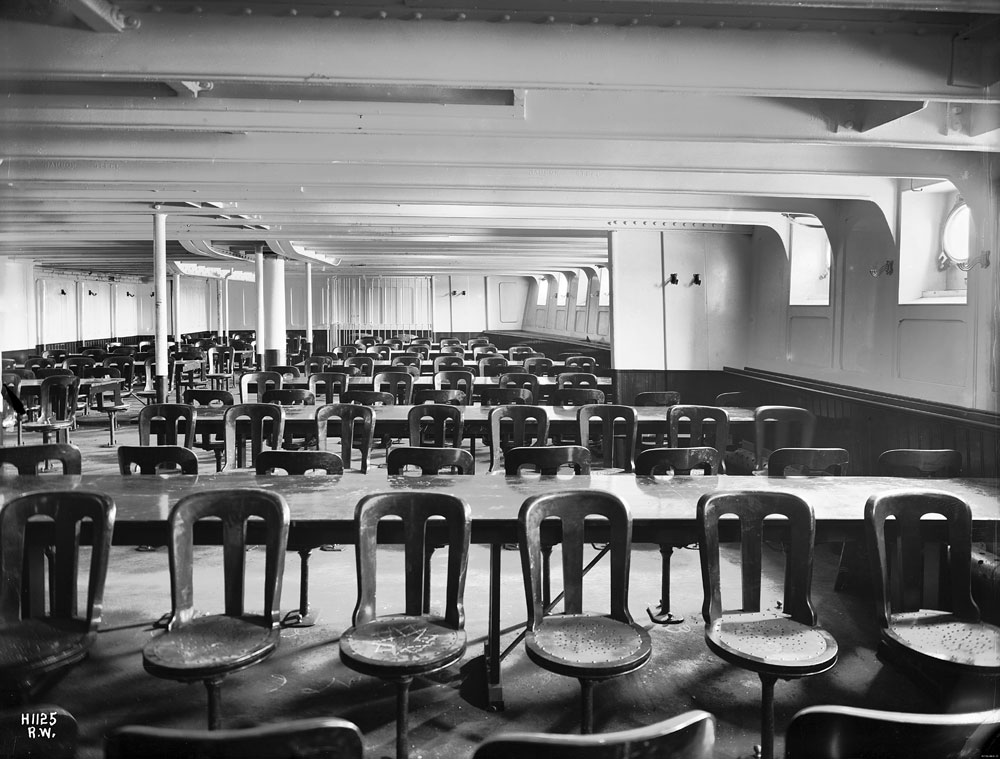 Adriatic - Third Class dining saloon, Harland and Wolff Collection © National Museums Northern Ireland