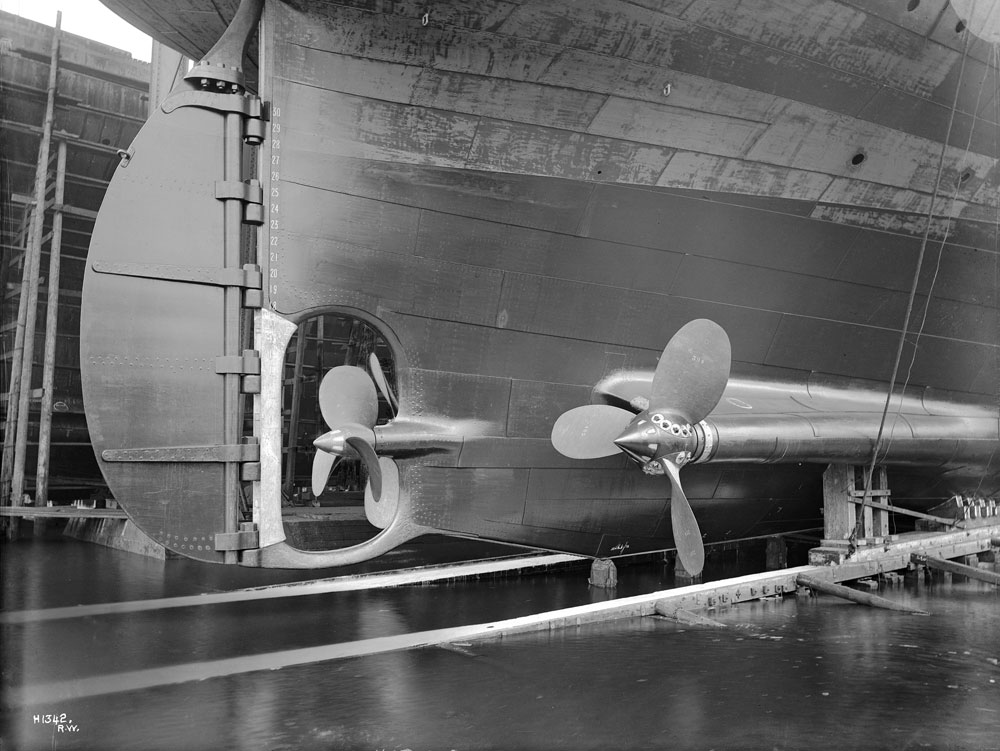 Laurentic - view of rudder and triple screw arrangement, Harland and Wolff Collection © National Museums Northern Ireland
