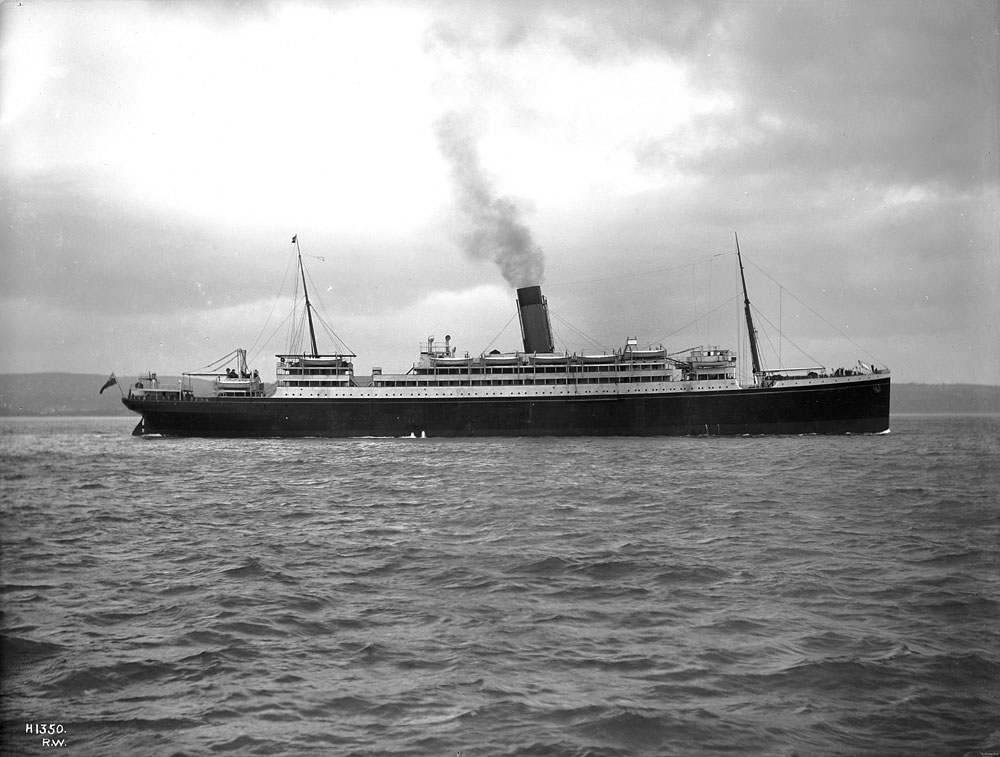 Laurentic - profile of completed ship in Belfast Lough, Harland and Wolff Collection © National Museums Northern Ireland