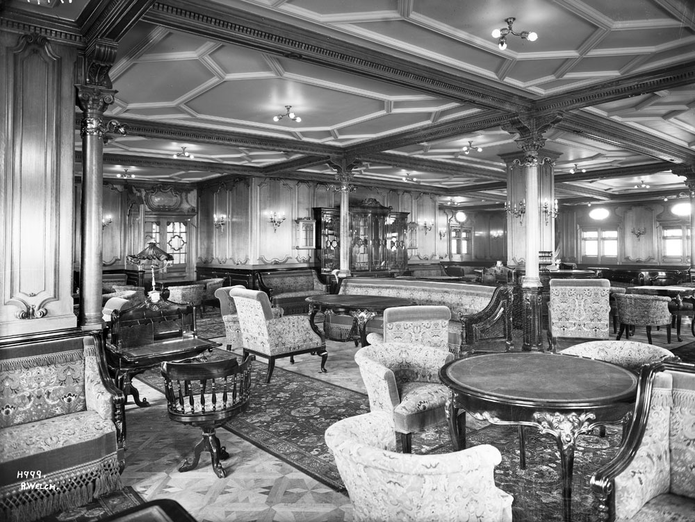 Adriatic - First class lounge/writing room and library, Harland and Wolff Collection © National Museums Northern Ireland