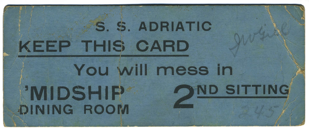 Adriatic - mess card (for troops), Paul Louden-Brown, White Star Line Collection © National Museums Northern Ireland