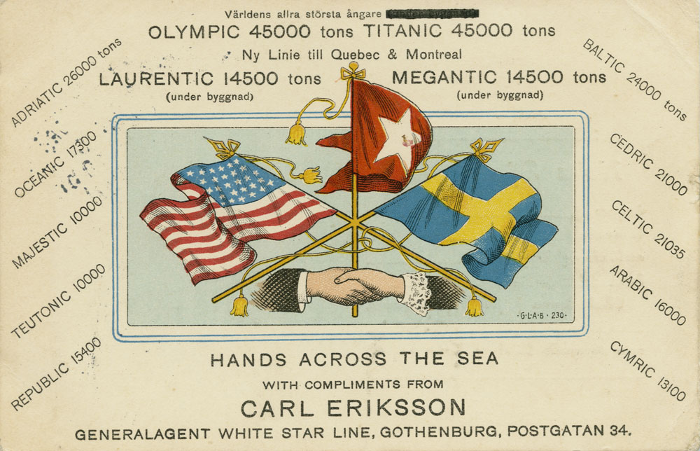 'Hands Across the Sea' advertising postcard c.1911, Paul Louden-Brown, White Star Line Collection © National Museums Northern Ireland
