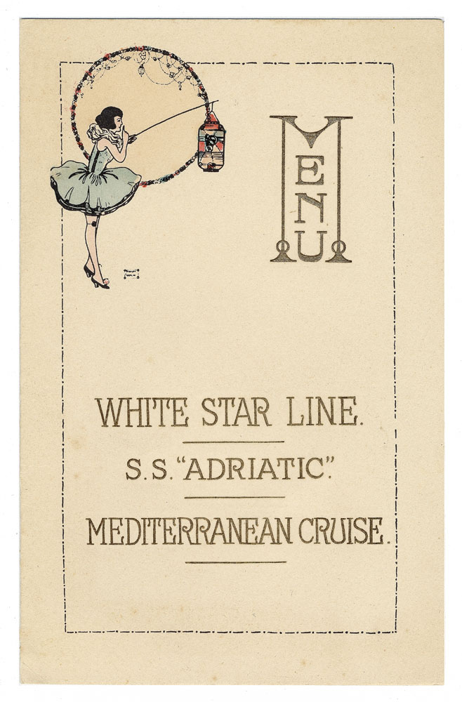 Adriatic - Mediterranean Cruise 'Washington's Birthday' menu, Paul Louden-Brown, White Star Line Collection © National Museums Northern Ireland
