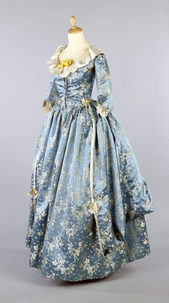Open robe of blue brocaded silk, 1770s - donated 1978. BELUM.T1392 © National Museums Northern Ireland