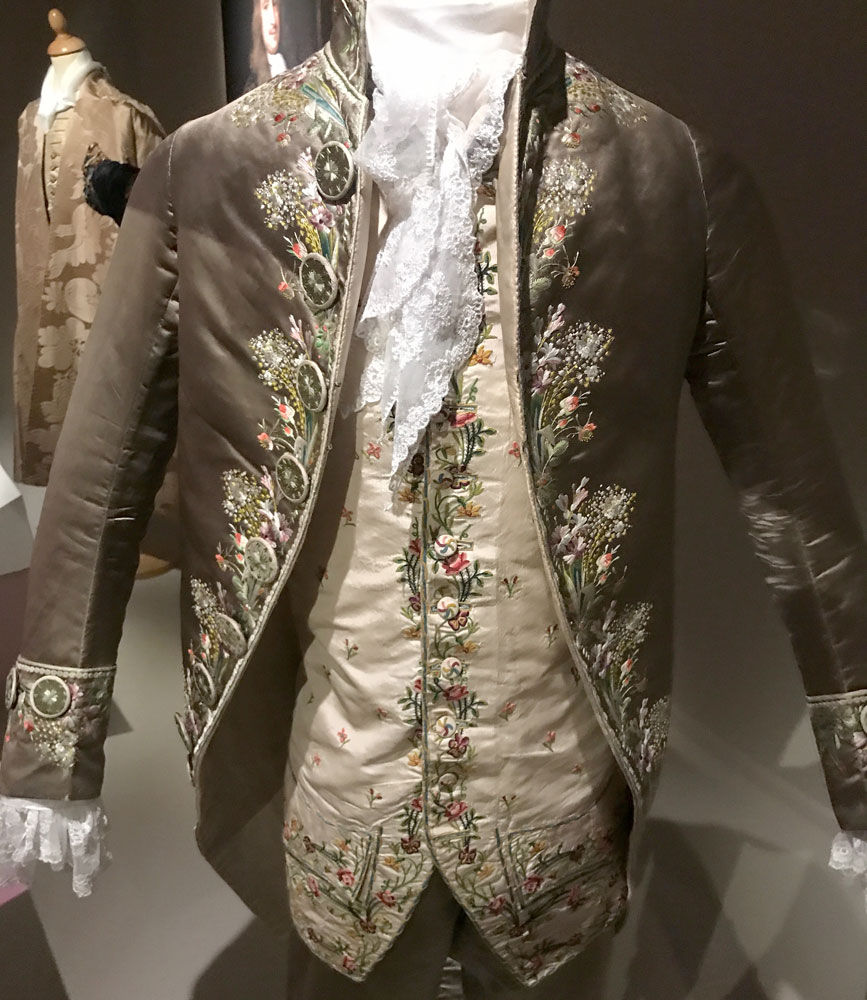 Man's grey satin suit, probably worn by George Augustus Rochfort (1738-1814), the 2nd Earl of Belvedere. BELUM.T1830 © National Museums Northern Ireland