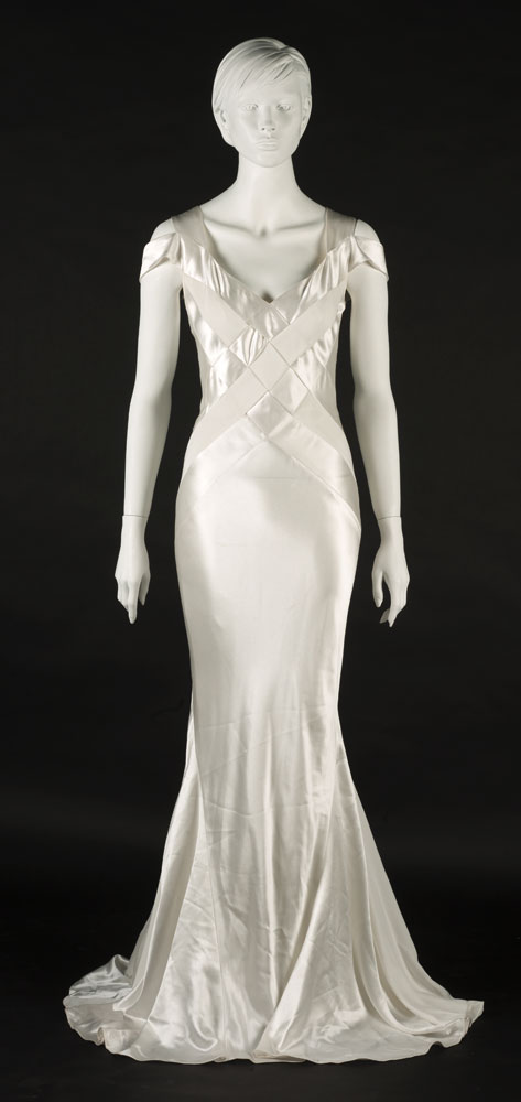 Long white satin crepe evening dress designed by Lorcan Mullany, Bellville Sassoon. BELUM.T4519.1 © National Museums Northern Ireland